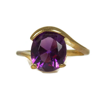 Vintage Purple Glass Ring Size 8