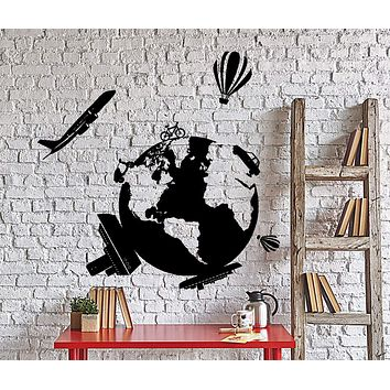 Wall Vinyl Decal Travel World Map Air Balloon Ship Airplane Home Interior Decor Unique Gift z4021