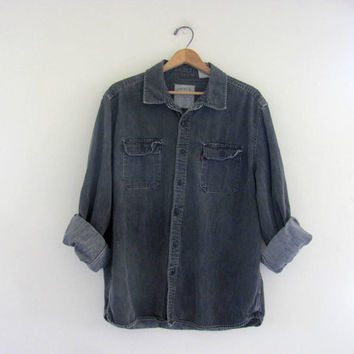 vintage faded black denim Levi's jean shirt Size XL