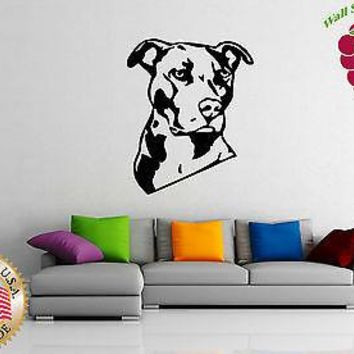 Wall Stickers Vinyl Decal  Animal American Pitbull Terrier Dog  Unique Gift em384