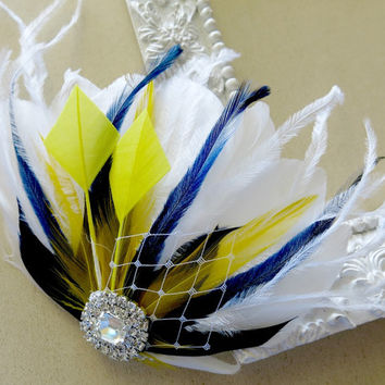 Bridal Hair Accessory, Feather Fascinator, Bridal, Bridesmaid, Hair PIece, White Navy Blue Yellow Lemon Hair Clip