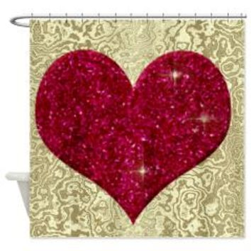 Gold And Red Glitter Heart Shower Curtain> Gold And Red Glitter Hear> Allcolor