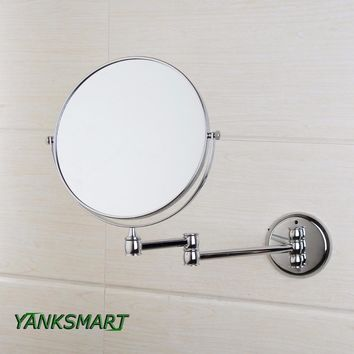 """YANKSMART Chrome Round Double-sided 3X Magnifying Mirror 8"""" Wall Mirror Vanity Mirror  Bathroom Compact Mirror Foldable Style"""
