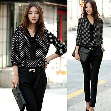 Women's autumn Polka Dot Shirt Loose Long Sleeve Blouse Top lantern sleeve Bowknot Chiffon