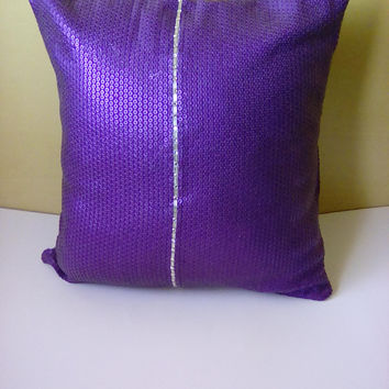 Purple Sequins w/ Beaded Trim (Purple Passion Collection) Luxury Pillow Cover