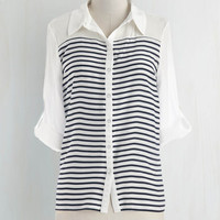 Nautical Mid-length 3 Button Down Play Me a Sea Top