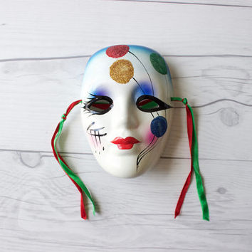 Vintage Hand Painted Glazed Porcelain Mardi Gras Face Mask with Ribbon for Hanging | Wall Decor