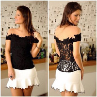 Black Lace Off-Shoulder Blouse