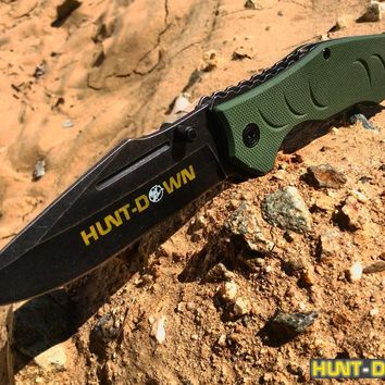 """8"""" Hunt-Down Green Folding Spring Assisted Knife with Belt Clip"""