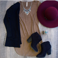 Amabel Suede Dress - Taupe