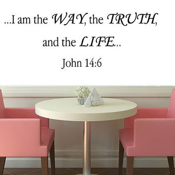 John 14:6 Vinyl Wall Art, Bible Wall Stickers, Christian Wall Decals and Wall Decals