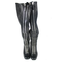 Alexander Wang Black Leather Black Federica High Tall Double Zipper Boots US 9