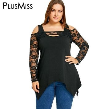 PlusMiss Plus Size 5XL Sexy Club Lace Cut Out Tunic Peplum Tops Women Clothing Cold Shoulder Long Sleeve Mesh Sheer Blouse Shirt