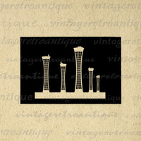 Retro City Skyscrapers Digital Graphic Download Skyline Buildings Printable Image Antique Clip Art for Transfers HQ 300dpi No.3318
