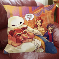 Square Pillow case References to baymax  big hero 6 and beast  beauty and the beast