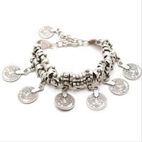 Silver Plated Coin Bracelet