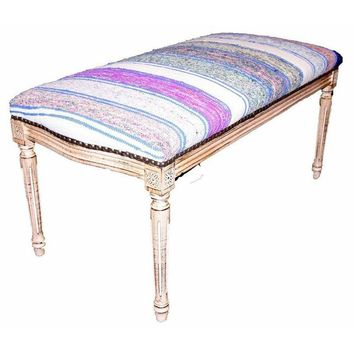 Pre-owned Bench Upholstered in Blue, White, and Purple Kilim