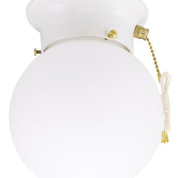 One-Light Indoor Flush-Mount Ceiling Fixture, with Pull Chain White Finish with White Glass Globe