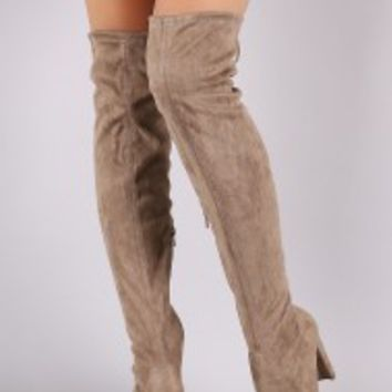 Suede Drawstring Tie Thick Heeled Over-The-Knee Boots