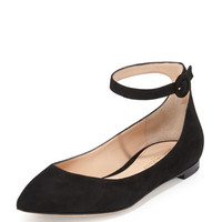 Gianvito Rossi Suede Ankle-Wrap Skimmer Flat, Black