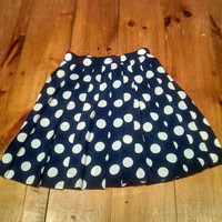 Vintage Pleated Navy Blue and White Polka Dot Skirt, Allumette Paris Skirt Made in France Size One, Small, Extra Small, S/XS