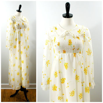 Spring Floral Dress, Smocked Peasant Maxi Dress, 1970s Floral Yellow Long Hippie Prairie Style Dress Size XS