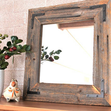 Rustic Industrial Eco Decor Reclaimed Wood Mirror - 18x18 finished framed farmhouse mirror