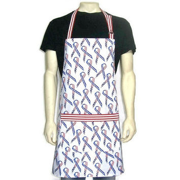 Mens Kitchen Apron , Red White and Blue American Flag Ribbons , Patriotic 4th of July decor