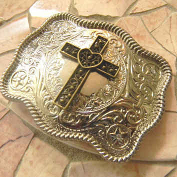 Heart Cross Western Belt Buckle, Bronze Cross, Catholic Christian Cross Mens Womens Belt Buckle, Silver Belt Buckle, Cowboy Cowgirl Buckle