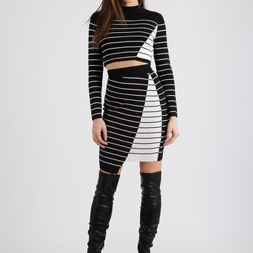 Fine Lines Pinstriped Top And Skirt Set