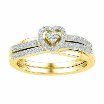 10kt Yellow Gold Women's Round Diamond Heart Bridal Wedding Engagement Ring Band Set 1/4 Cttw - FREE Shipping (US/CAN)