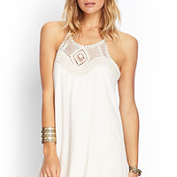 FOREVER 21 Crochet Halter Dress Beige