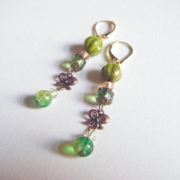 Spring green earrings with ribbon parts, green beaded dangle earrings, cute earrings, gift for her, gift under 10, ooak jewelry, kawaii.