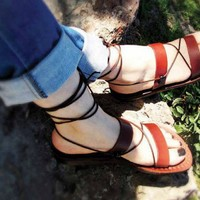 Shoes, Women's Shoes, Sandals, Gladiator & Strappy Sandals, Jerusalem sandals, Women sandals, Sandals brown leather, sandal