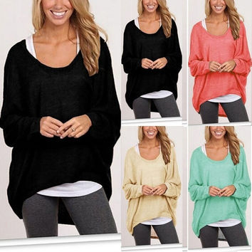 Plus Size Long Sleeve Pullover Casual Blouse [7673482758]