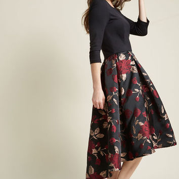 High-Low Hem Fit and Flare Dress with Pockets