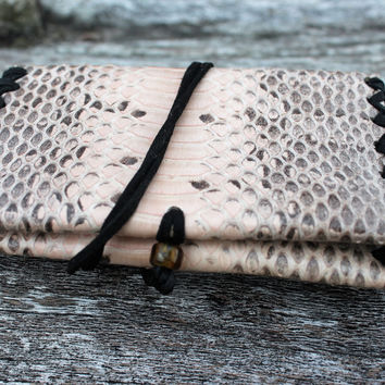 Boa Snake Skin Wallet, Bison Buffalo Leather, Deerskin Leather Lace, Bifold, Double Pocket Hand Crafted Money Pouch