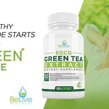 Green Tea Supplement EGCG Belly Fat Burner Weight Loss Pills for Women and Men - Anti-Aging - Boost...