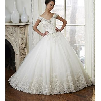 Vintage Lace Ball Gown Wedding Dress Off Shoulder Beaded Bridal Dresses 2017 Sweep Train Crystal Wedding Gowns