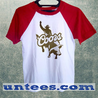 Coors Bullrider Logo Basic Baseball Tee Red Short Sleeve Cotton Raglan T-shirt