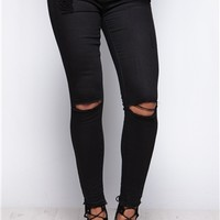 Carla Black Ripped Frayed Ankle Jeans at misspap.co.uk