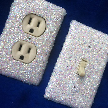 Snow White Frost Glitter Switchplate / Outlet Cover Set of Two