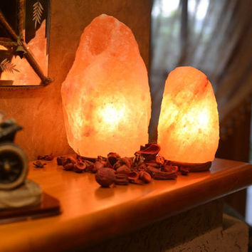 Pink/Red/White/Grey Himalayan Salt Lamp with Lightbulb,Home Decor, Aromatherapy, Feng Shui, Healing Crystals, As seen on CountyLiving.com