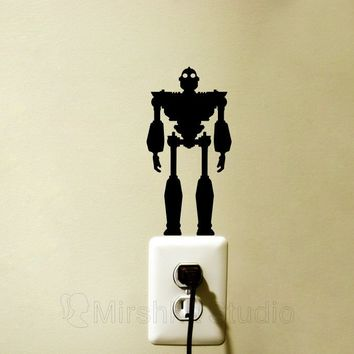 The Iron Giant Velvet Light Switch Decal - Super Hero Laptop Sticker - Robot laptop decal - Science Fiction Nursery Art - Movie Wall Decor