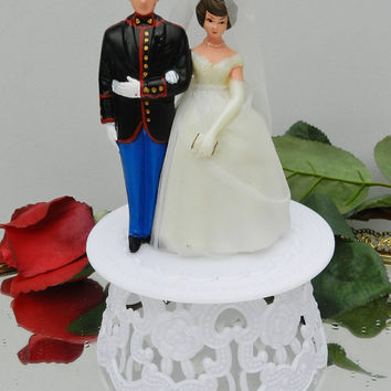 Upscaled True Vintage figures Wedding Military Marine Corps cake topper