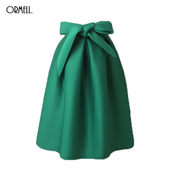 ORMELL Elegant Vintage Women Skirt High Waist Pleated Long Midi Skirt A Line Big Bow Red Black Green Side Zipper Skater Skirts