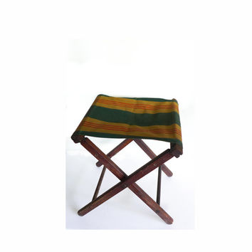 Vintage Camp Stool Camping Chair Folding Stool Wood Canvas Stripe Chair Stadium Stool Tailgate Canvas Stool - Forest Green Gold Red Orange