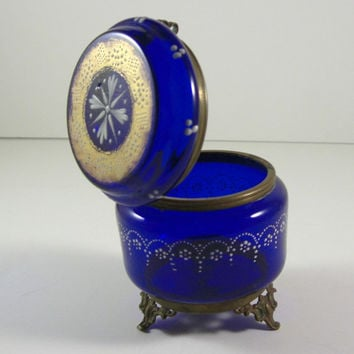 Moser Cobalt Blue Glass Enameled Jewelry Casket / Victorian Trinket Dresser Snuff Patch Puff Box