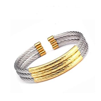 High Quality Fashion Male Open Cuff Bangles Punk Unique 3 Layers Stainless Steel Wrap Charm Bracelets Men Women Bangles