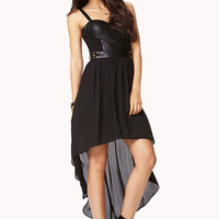 FOREVER 21 High-Low Bustier Dress Black Medium